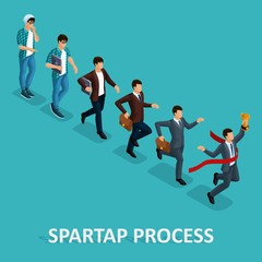 Trendy Isometric people, 3d businessman, development start-up, creative freelancer, start-up process, career growth, business concept on blue background