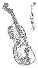 Vector abstract illustration drawing of violin.