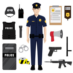 Police Officer with Police Professional Equipment
