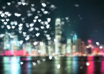 Romantic city. Blur background.Lifestyle and celebration concepts ideas