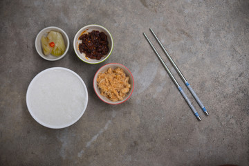Rice gruel and side dish