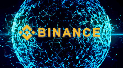 Binance is a finance exchange market. Crypto Currency background concept.