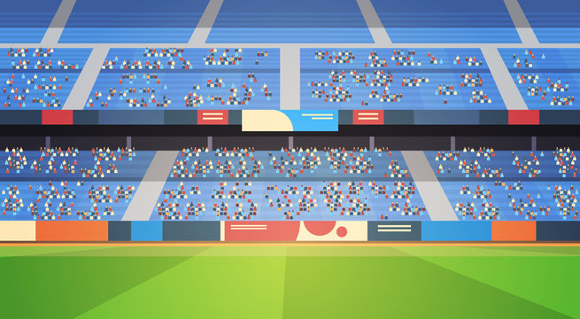 empty football stadium field arena filled tribunes before start match flat horizontal vector illustration