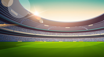 empty football stadium field view sunset flat horizontal vector illustration