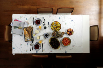 Brazilian food dishes are displayed during breakfast in a home in Sao Paulo