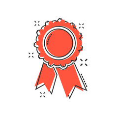 Vector cartoon badge with ribbon icon in comic style. Award medal sign illustration pictogram. Champion business splash effect concept.