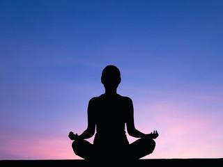 Silhouette woman meditate .