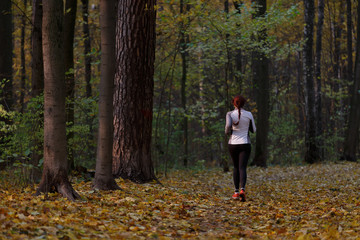 Image from back in full growth of woman running along autumn foliage