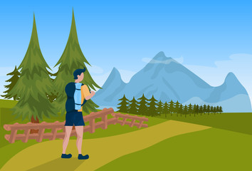 man tourist hiker backpack male over mountain background tourism concept flat vector illustration