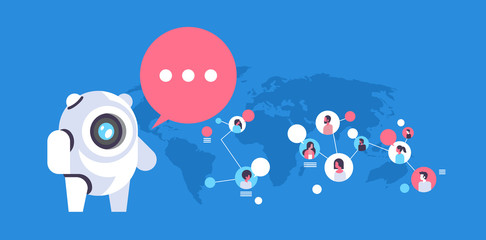 chatbot robot speech bubble people avatar global communication connection artificial intelligence concept man woman faces flat horizontal vector illustration