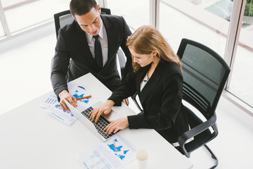 Business people analysis report and working in modern office