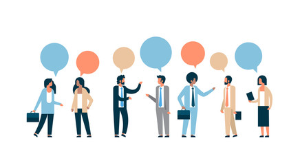 mix race business people chat bubble communication concept isolated man woman relationship horizontal flat full length vector illustration