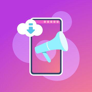 Mobile synchronization cloud application megaphone interface concept