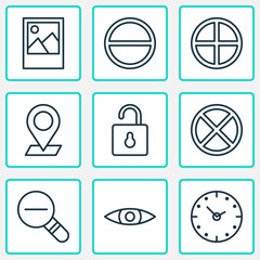 Network icons set with plus, open lock, eyes and other unlock  elements. Isolated vector illustration network icons.