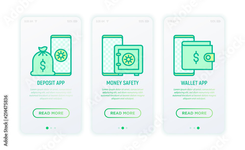 Online banking thin line icons: deposit app, money safety