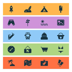 Travel icons set with swimsuit, sand with palm, popsicle shopping trolley  elements. Isolated vector illustration travel icons.