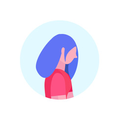 hipster woman profile isolated avatar female cartoon character portrait flat vector illustration