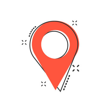 Vector cartoon pin location icon in comic style. Navigation map, gps sign illustration pictogram. Pin business splash effect concept.