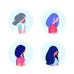 set diversity woman profile isolated hairstyle avatar female cartoon character portrait flat vector illustration