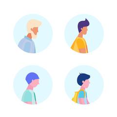 set diversity age man profile avatar icon isolated male multi generation cartoon character portrait flat vector illustration