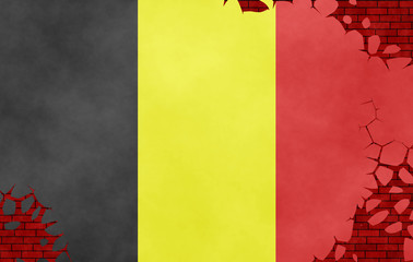 Illustration of a Belgian flag, imitation of a painting on the cracked wall