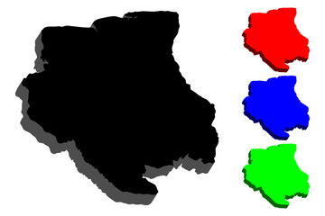 3D map of Suriname (Republic of Suriname,  Surinam) - black, red, blue and green - vector illustration