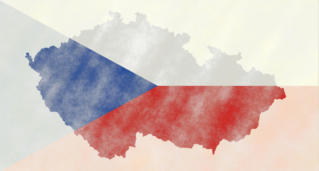 Illustration of a Czech Flag with a contour of borders
