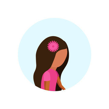 Little girl profile avatar isolated cute female