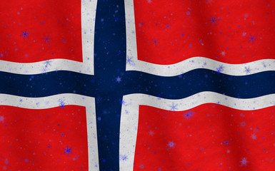 Illustration of a flying Norwegian Flag with snowflakes