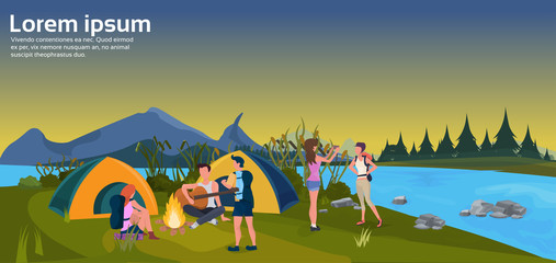 expedition group play guitar activities sunset tent camping fire forest mountain concept flat horizontal copy space vector illustration