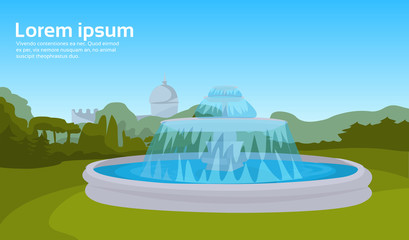 city park fountain green grass trees cityscape background horizontal copy space vector illustration