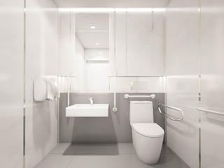 Interior of Modern Disabled toilet, 3d rendering