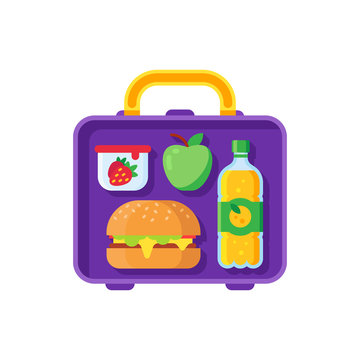 School lunch in lunchbox. Healthy dinner in food box. Schoolkid meal metal bag with sandwich, apple and snacks cartoon vector illustration