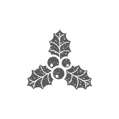 Holly leaves icon in grunge texture. Vintage style vector illustration.