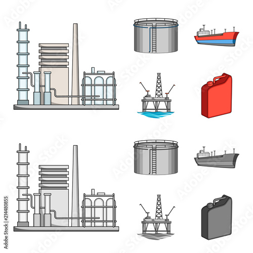 Oil Refinery Tank Tanker Tower Oil Set Collection Icons In