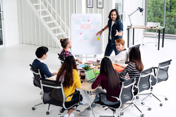 Young asian creative man standing and making presentation at modern office happy talking and brainstorming with team. Casual multiethnic diverse people business meeting concept with rear view.