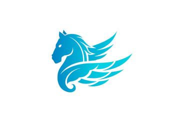 Horse Pegasus Logo Design Illustration
