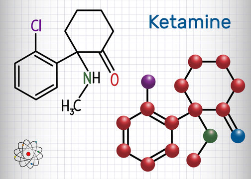 Ketamine molecule. It is used for anesthesia in medicine. Structural chemical formula and molecule model. Sheet of paper in a cage