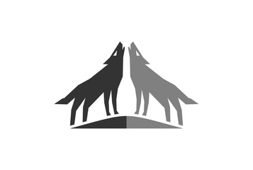 two wolf logo icon vector