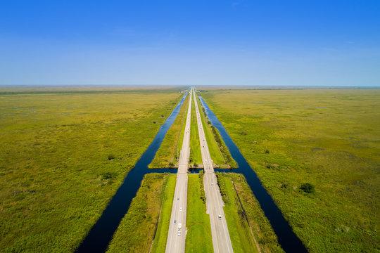 Alligator Alley Florioda Everglades aerial drone photo