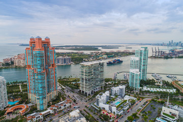 Aerial Miami Beach South Pointe Washington Avenue and park