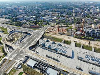 Łódź, Polska- widok na Dworzec Łódź Fabryczna