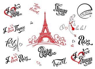 Paris. France. Set of elements for design. Eiffel tower sketch. Inspiring lettering. Label templates. Girl model.Vector.