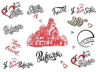 Bulgaria. Sofia. Set of elements for design. Lettering. The sketch of the Cathedral of Alexander Nevsky. Travel.Vector.