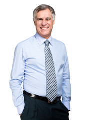 Senior manager smiling isolated on white