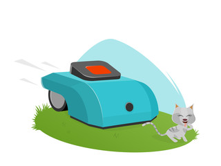 automatic lawnmower attacking cute kitten