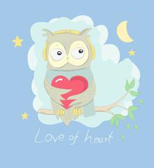 Cute owl cartoon hug red heart on the tree at night. Hand drawn style