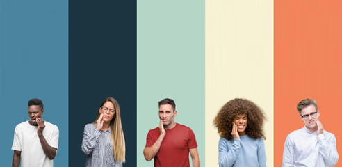 Group of people over vintage colors background touching mouth with hand with painful expression because of toothache or dental illness on teeth. Dentist concept.