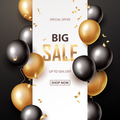 Sale banner with black and gold floating balloons. Vector illustration.