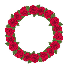 Colored illustration of a round wreath of red roses. Isolated vector object on white background.